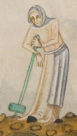 Woman in a cote, smocked apron and a head wrap, c. 1325-1340