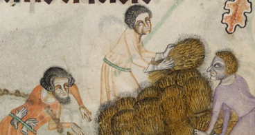 Peasants working with messy and fairly short hair, c 1325-1340