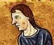Wine peasant wearing long hair, c. 1180