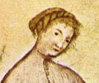 Woman with her braided and pinned, 1300's Taccuino Sanitatis detail. – 1300–1400.