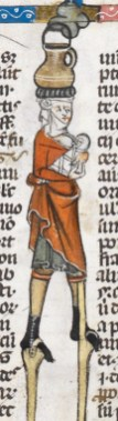 Woman on stilts while nursing her child and carring water. She is wearing short hose, a cote and a short chemise. c. 1300-1340