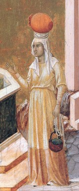 Woman getting water in her belted cote, c. 1308-1311, Italy