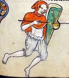 Man in braies and a hooded short cloack holding a sheild. c. 1260