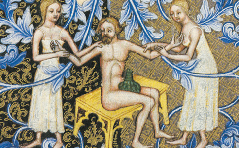 Bathing attendens in shifts and head wrappings, late 1300's