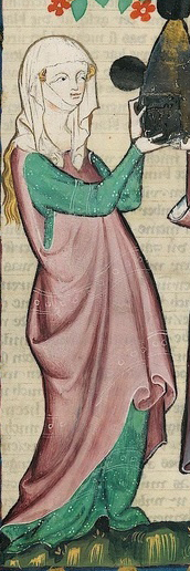 Woman wearing a cyclas, veil and wimple, c 1300-1340