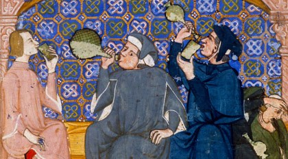 Men drinking. Notice the soft hats. They all seem to have a bob., c. 1335