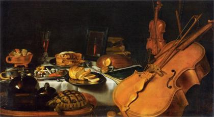 """Still Life With Musical Instruments"" by Pieter Claesz, 1623. It looks like the postej is filled with fruit - among those an orange of some kind."