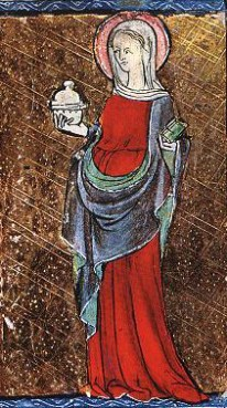 "Belted cote under a drapped mantle (roman style), c. 1284 The drapped mantle might be to indicate that this woman is ""eastern""."