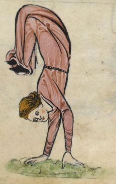 Woman in hand stand - she is wearing a rose cote, c. 1260