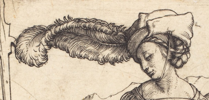 Woman wearing a large rounded bonnet c. 1497