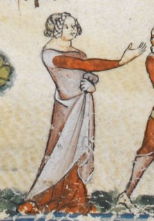 Loose surecote with short sleeves over a cote. c 1300 - 1340