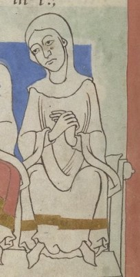 Woman wearing a gown and a poncho-like garment over her head and a chape, C. 1175-1200