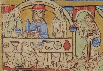 Women seated with the lord. They wear loose garb and veils, c. 1155-1160