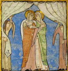 Woman embracing. They wear head scarfs, mantles and wide sleeved gowns. The attendants wear wide sleeved gowns but no head scarfs. None of them wear belts. c. 1155-1160