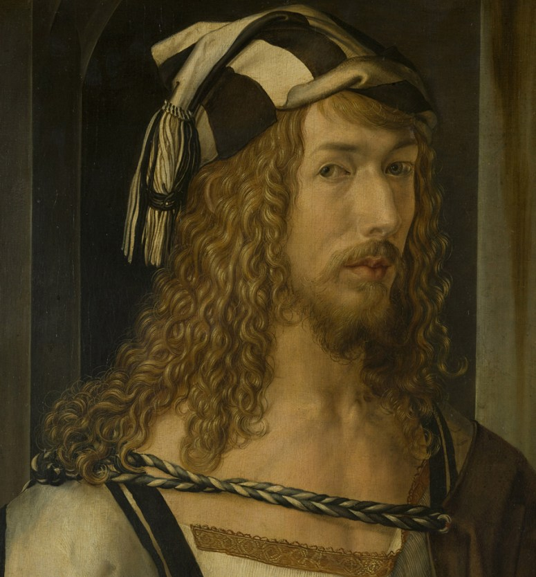 Albrecht Dürer with long hair, a black and white striped cap with tassels, 1498