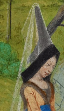 Lady in a cone hennin and very long veil, c. 1485-1490