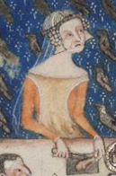 Rounded red cyclas over a red cote. Notice the wide neckline on both dresses. c. 1325-1340
