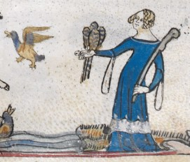 Falconer in a blue gown with tippets
