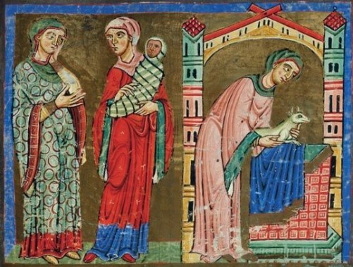 Three women, one holding a swaddled baby. They are all wearing cotes, over dresses and veils wrapped around their heads - a la a hijab (early 1100's)