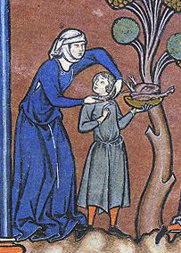 Woman in cote and child in a tunic and hose. Note the triangle of white showing under her arm, mid 1240s