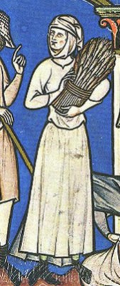 Peasant woman in a white dress, c. 1250