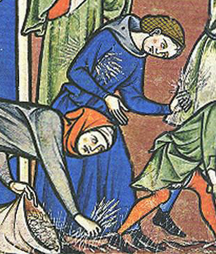 Woman in a blue cote wearing a hairnet and a hood, c. 1250