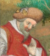 King wearing a hat and crown, c. 1410-1430 the Bedford Hours c. 1410-1430