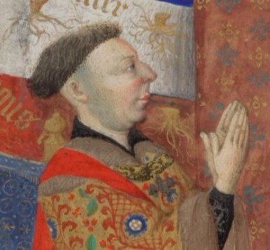 Man with very short bowl style hair and shaved sides. He even looks like he could use a shave. c. 1410-1430
