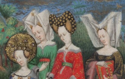 "Ladoes wearing: bourrelet and hairnet and wired ""horned"" headdress with a veils c. 1410-1430"