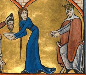 Woman in a blue cote (olding a servered head?) and the queen is in a white/grey cote and red mantle. She wears a veil under he crown.