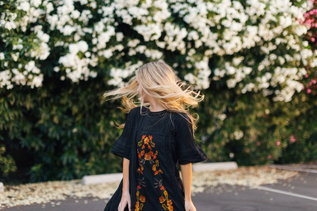 black dress, free people, nordstrom sale, 2017, floral, embroidered, booties