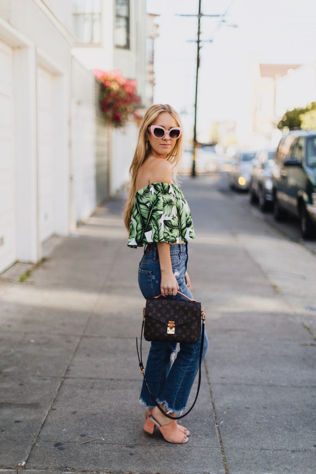 heidi crop top + bdg kick flare jeans + orange mules + LV bag