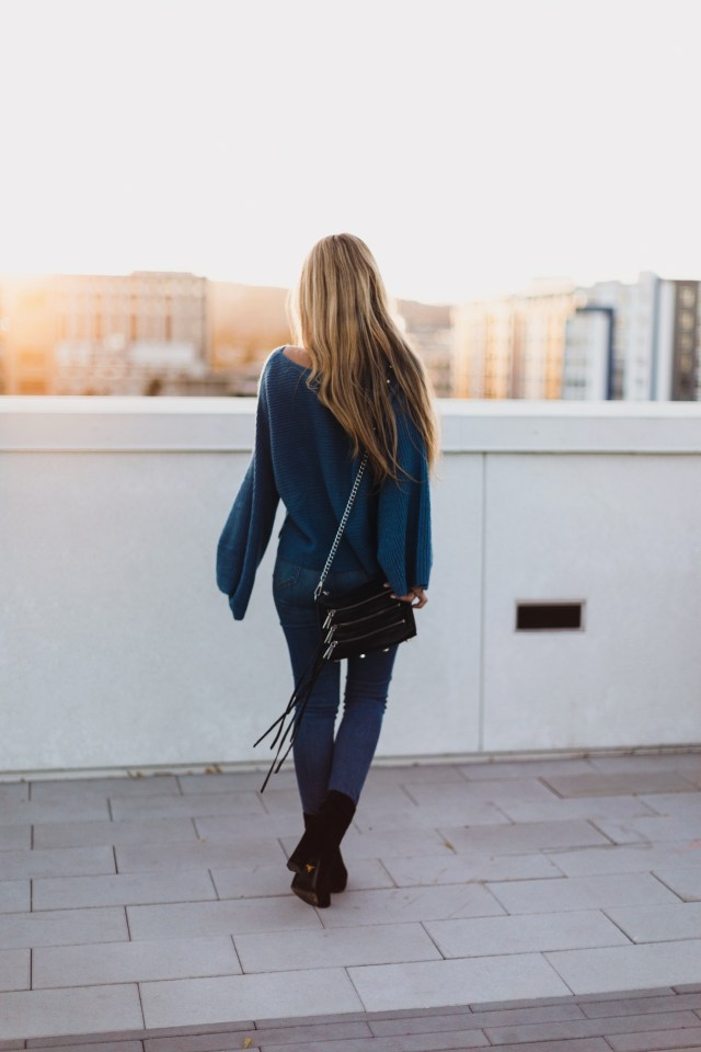 bp bell sleeve sweater + prada booties + jamie jeans + five-zip crossbody