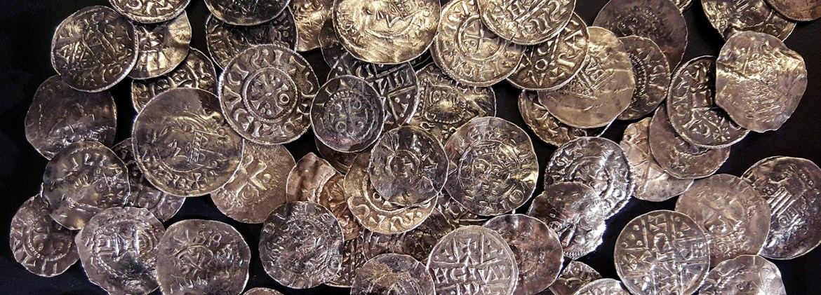A pile of silver Viking coins