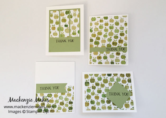 One Sheet Wonder Card Set with Fruit Stand DSP – Create 12 cards using 1 sheet of paper from the Fruit Stand Designer Series Paper pack. | #mackenziemakes #makewithme #stampinup | www.mackenziemakes.com