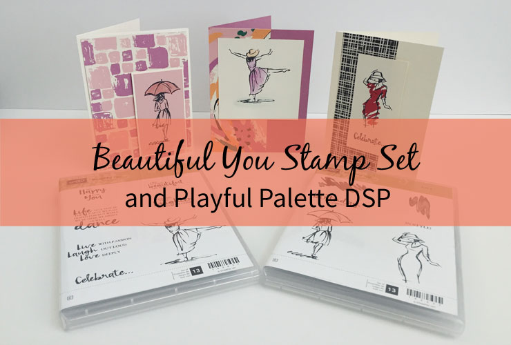 Beautiful You Stamp Set and Playful Palette DSP – Learn how to make 3 simple cards using the Beautiful You stamp set and Playful Palette DSP from Stampin' Up! | #mackenziemakes #makewithme #stampinup | www.mackenziemakes.com