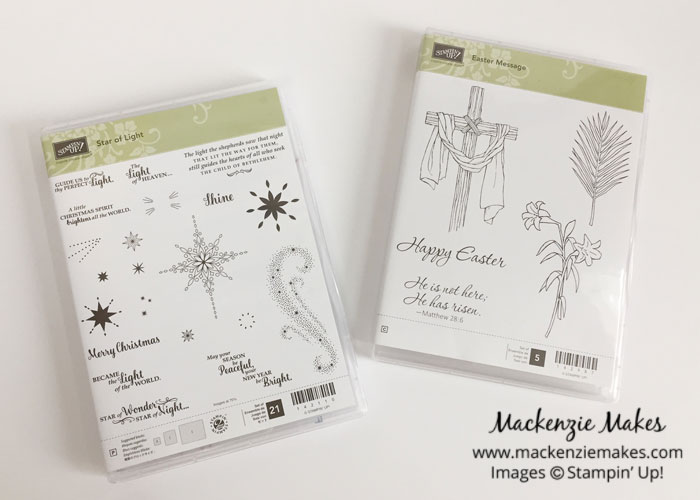 Easter Message Card Featuring Star of Light – Don't be afraid to mix stamp sets! I paired the Easter Message set in the Occasions catalog with the Star of Light set from the Holiday carryover list to make this beautiful Easter card. | #mackenziemakes #makewithme #stampinup | www.mackenziemakes.com