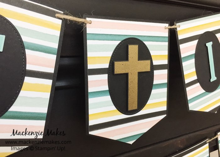 He is Risen Banner – Click through to learn how to make a banner for your Easter decor. | #mackenziemakes #makewithme #stampinup | www.mackenziemakes.com