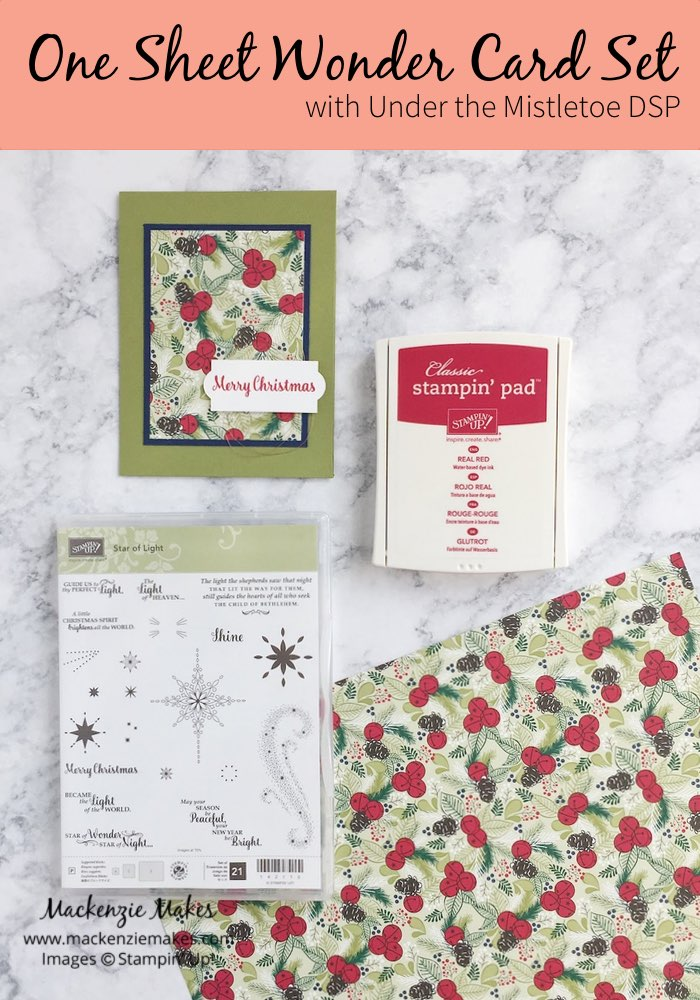 One Sheet Wonder Card Set with Under the Mistletoe DSP – Create 12 Christmas cards using 1 sheet of paper from the Under the Mistletoe Designer Series Paper. Click through to learn how and to get the template design. | #mackenziemakes #makewithme #stampinup | www.mackenziemakes.com