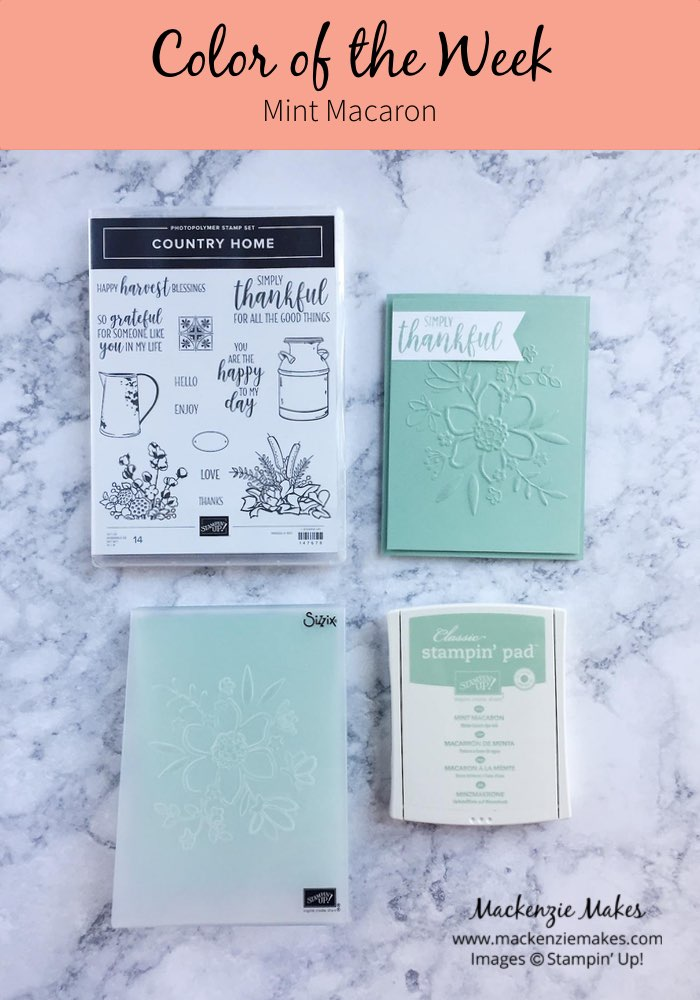 Color of the Week -Mint Macaron – Click through to see this week's Color of the Week - Mint Macaron. Find color combinations and comparisons, and a list of products containing this color. | #mackenziemakes #makewithcolor #stampinup | www.mackenziemakes.com