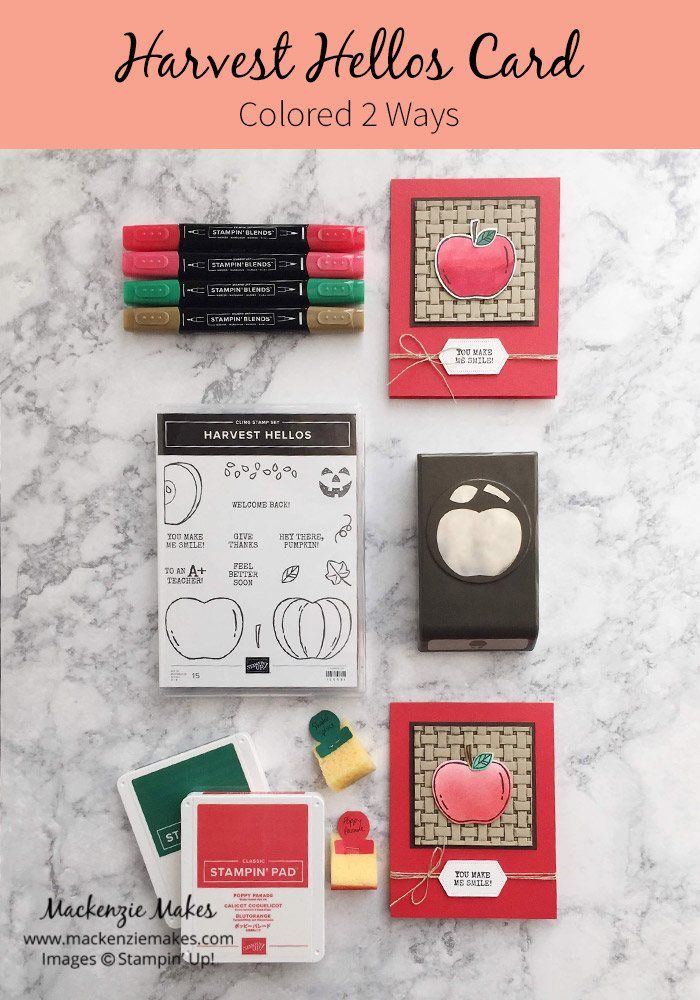 Harvest Hellos Card -Colored 2 Ways – Click through to see a fun card using the new Harvest Hellos Bundle and learn two ways to color the apple. | #mackenziemakes #stampinup | www.mackenziemakes.com
