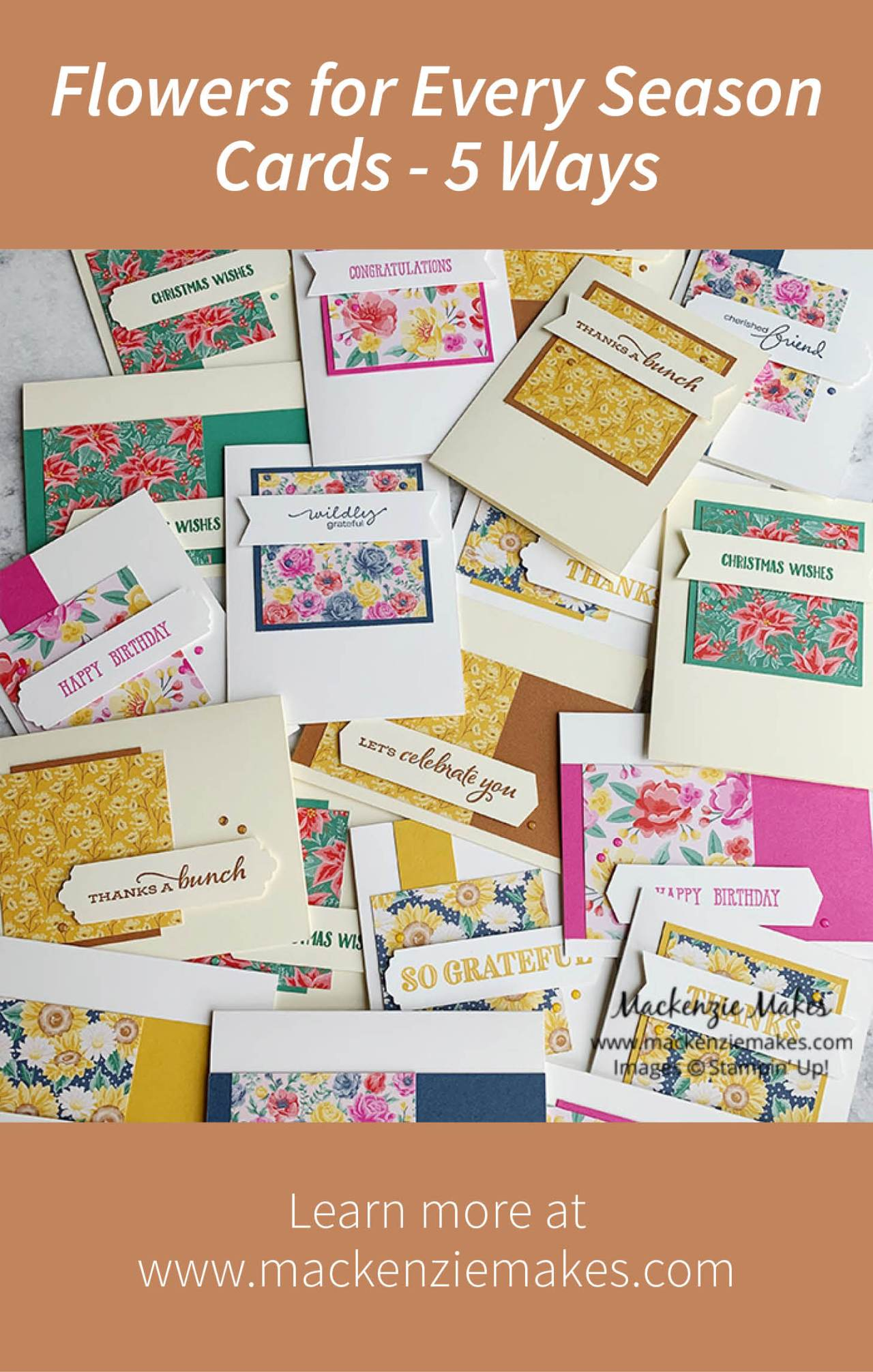 Flowers for Every Season Cards - 5 Ways – Click through to see some fun fall cards, plus four more variations, all using the Flowers for Every Season Designer Series Paper from Stampin' Up! | #mackenziemakes #stampinup | www.mackenziemakes.com