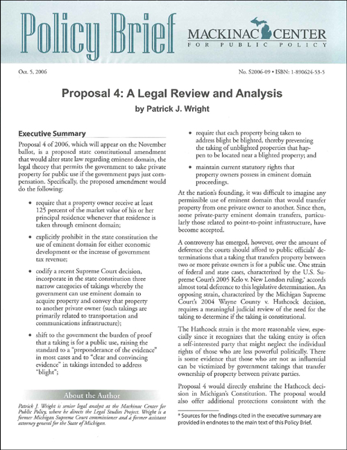 Proposal 4 A Legal Review And Analysis – Mackinac Center