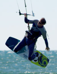 Steve is an average weight kiteboarder