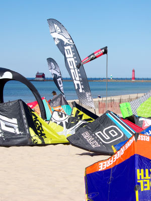 Waiting for wind for kiteboarding