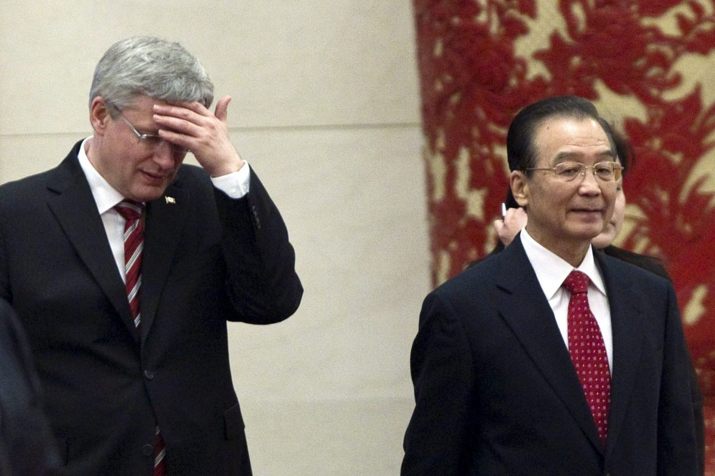 Prime Minister Stephen Harper with China's then- Premier Wen Jiabao in 2012, when the FIPA was signed