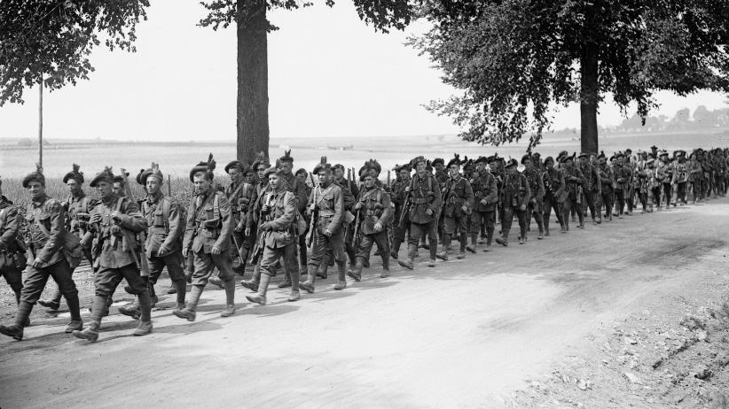 The Nova Scotia Highlanders, marching through Belgium in World War One 1914. (Universal History Archive/Getty Images)