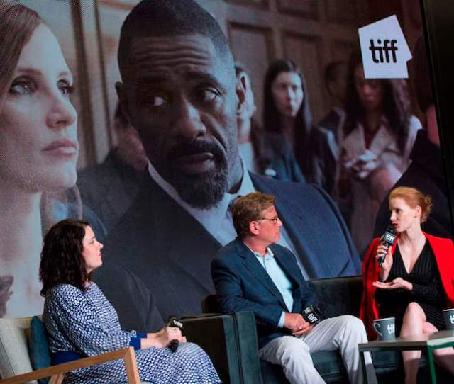 Writer Director Aaron Sorkin C And Actress Jessica Chastain Attend The Press Conference