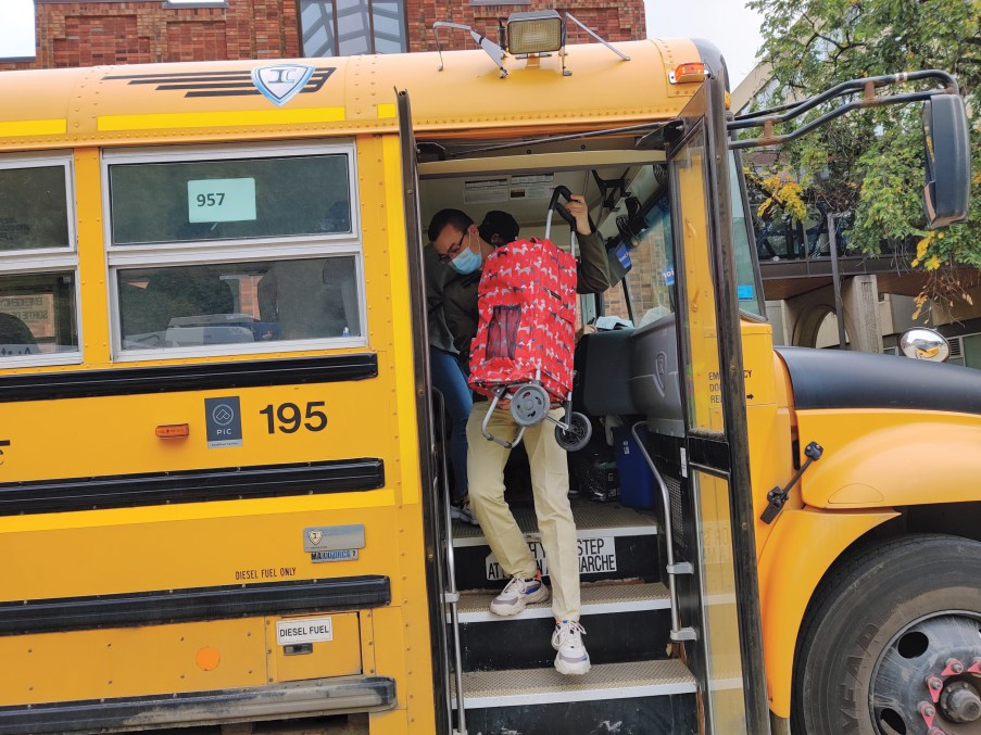 Edmonton students use the Grocery Bus (Courtesy of Campus Food Bank Society)