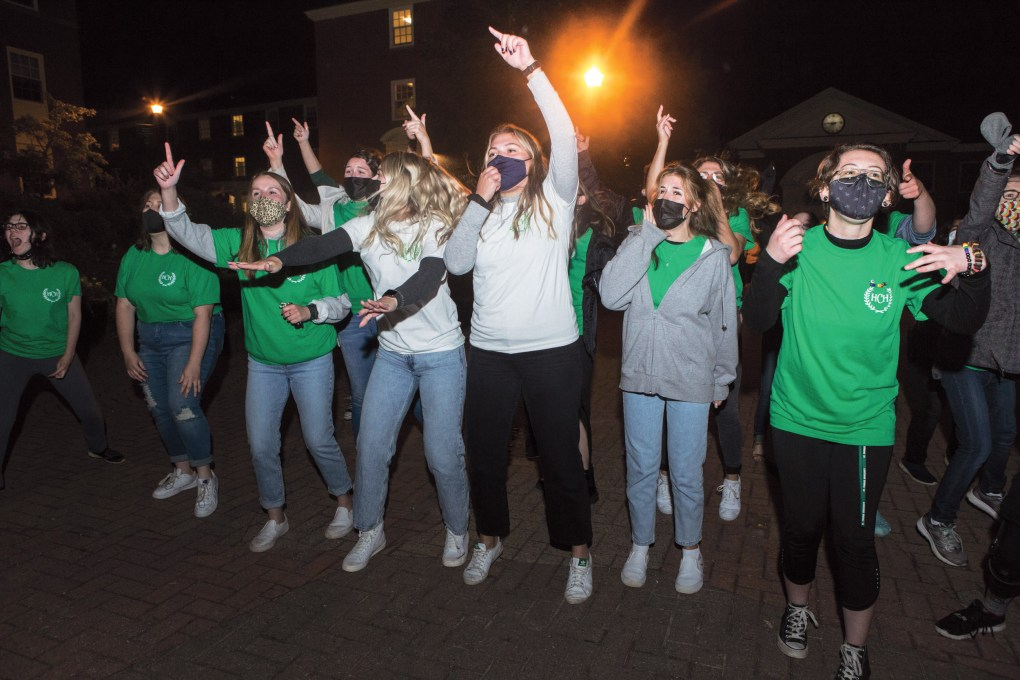 Student residents participate in a cheer-off at St. Thomas University in Fredericton, NB. (Photograph by Chris Donovan)